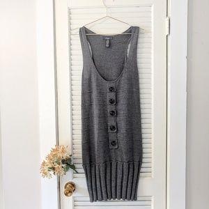 Dex Gray Wool Blend Pleated Sweater Dress